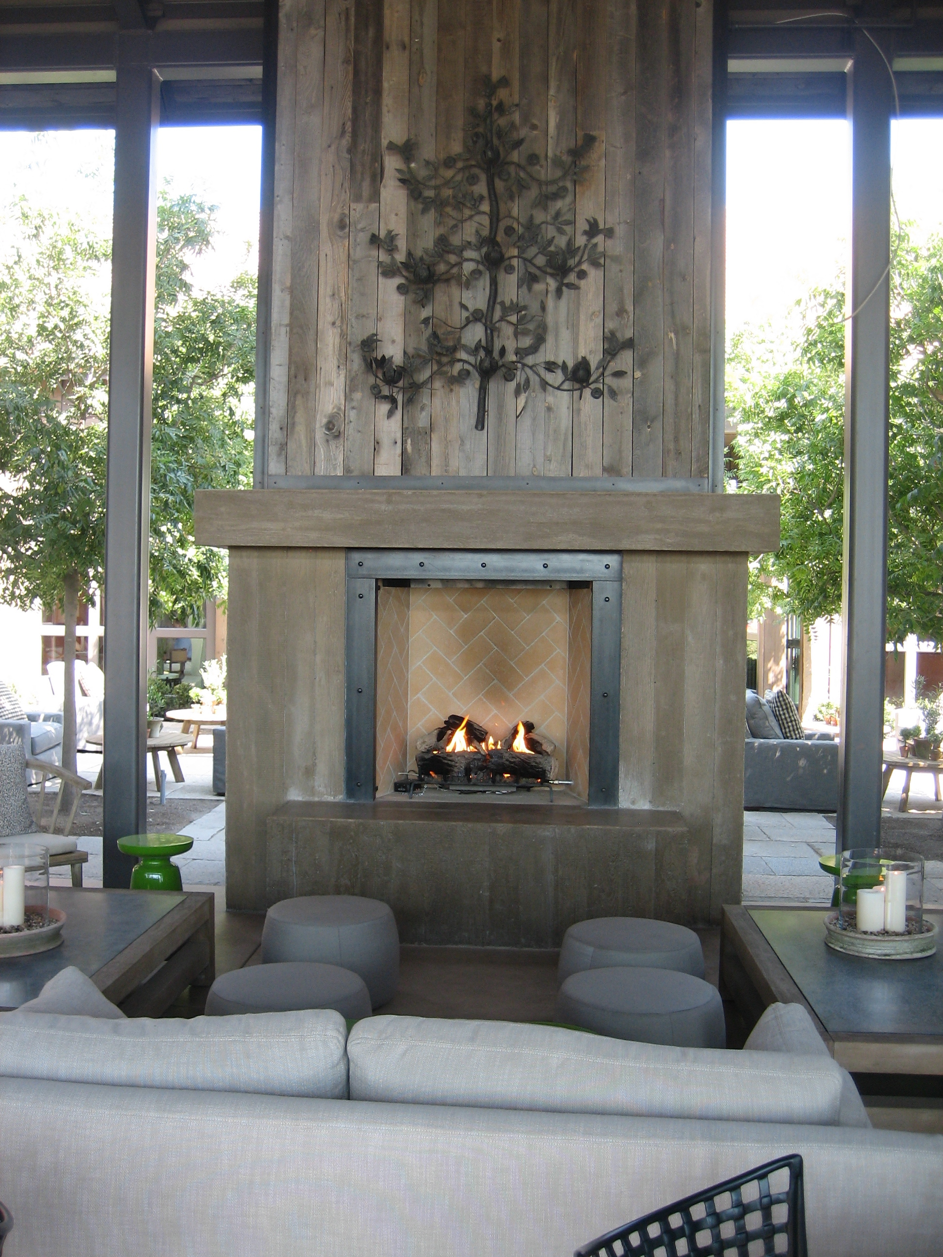 Wine country s sexy new winery winefashionista - Interactive home interior decor with various modern stone fireplace ...