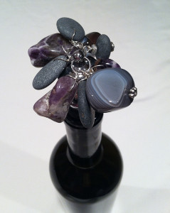 hand drilled rocks with amethyst and agates